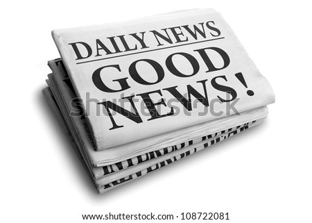 Daily news newspaper headline reading good news - stock photo