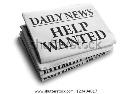 Daily news newspaper headline reading help wanted concept for recruitment and employment issues
