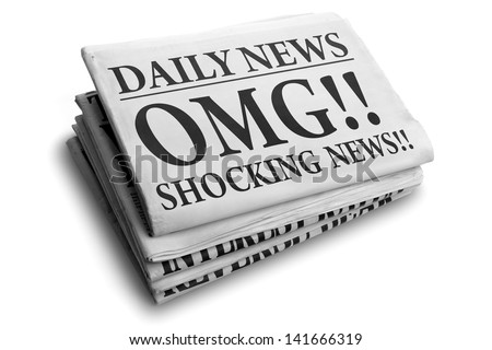 Daily news newspaper headline reading OMG shocking news concept for astonishing news - stock photo