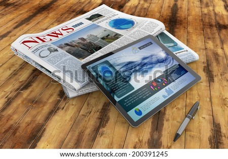 daily newspaper, tablet and pen on wooden desk - stock photo