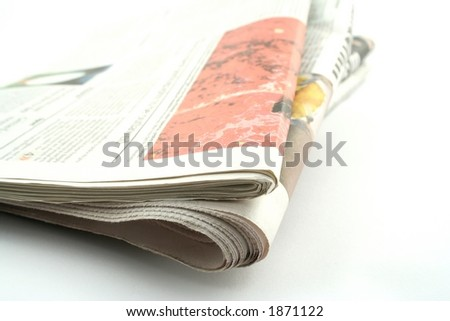 Daily newspapers on a white background