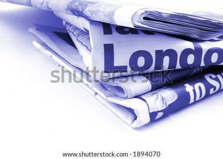 Daily newspapers on a white background - stock photo