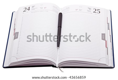 Daily planner with pen isolated on white background - stock photo