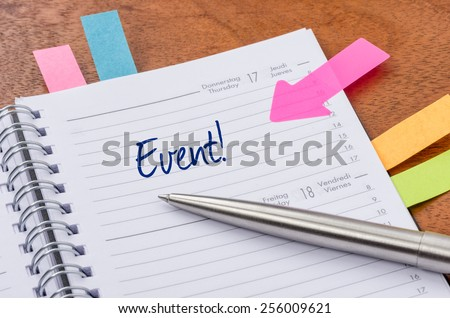 Daily planner with the entry Event - stock photo
