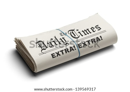 Daily T Imes Newspaper Folded Rubber Band Stock Photo Edit Now