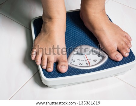 Daily weight picture show behavior of people who attend to better healthy life by daily weight monitoring - stock photo