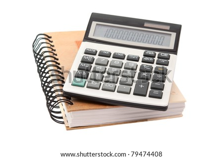 daily with a calculator on a white background - stock photo