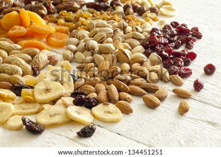 Dainty nuts and dried fruits mix - stock photo