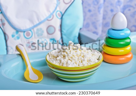 Dairy product in the form of food for young children - stock photo