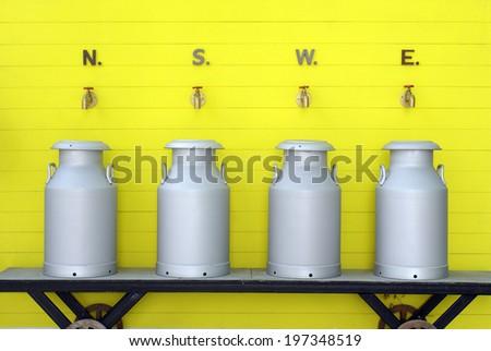 dairy product industry milk aluminium can tank - stock photo