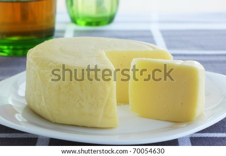 Dairy product is the cheese of mozzarella - stock photo