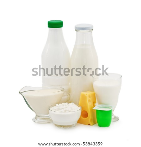 dairy product isolated on white - stock photo