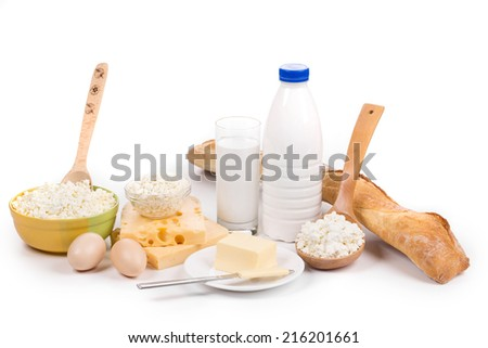 Dairy products and bread. Isolated on a white background.