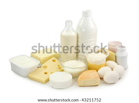 Dairy products and eggs isolated on white background - stock photo