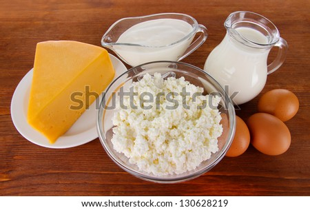 Dairy products and eggs on wooden background