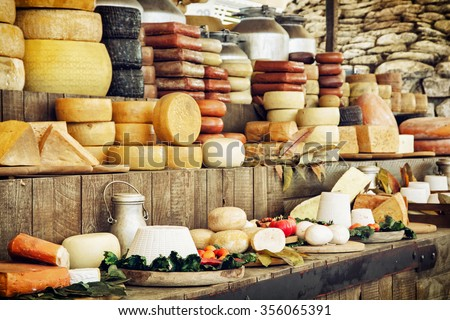Dairy products and vegetables. Grocery shop. Food theme. - stock photo