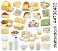 Dairy products collection isolated on white background - stock photo