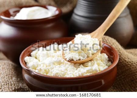 dairy products in brown ceramic bowl  - stock photo