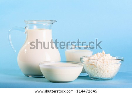 Dairy Products Include Milk And  Cheeses And Cream - stock photo