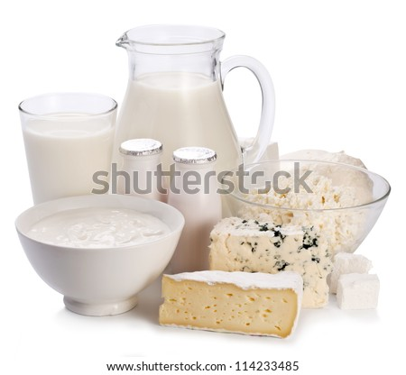 Dairy products. On a white background. - stock photo