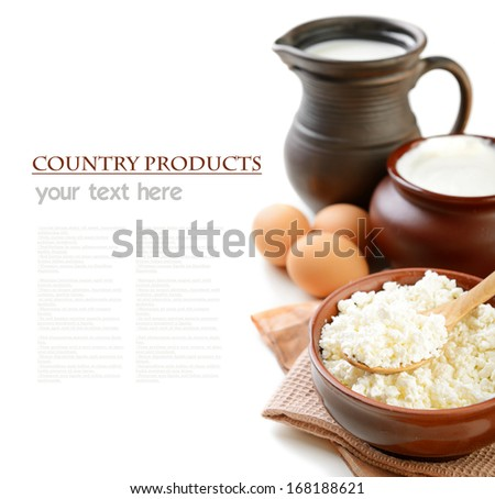 dairy products on a white background - stock photo