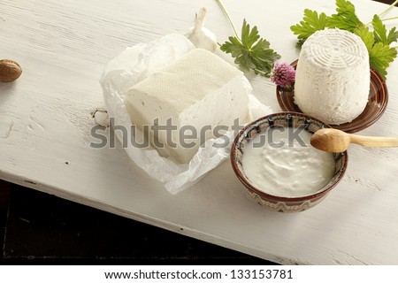 Dairy products on table - stock photo
