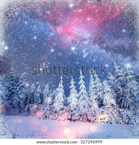 Dairy Star Trek in the winter woods. background with some soft highlights and snow flakes - stock photo