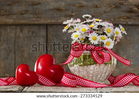 daisies and hearts for my mother - stock photo