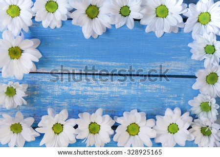 Daisies frame on the blue rustic wooden  background  - stock photo