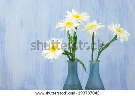 Daisy bouquet in vase on grunge background. - stock photo