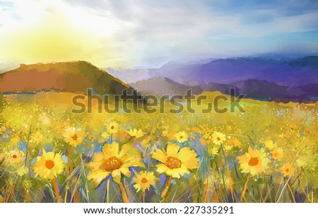 Daisy flower blossom.Oil painting of a rural sunset landscape with a golden daisy field.  Warm light of the sunset and hill colored in orange-Purple at the background. - stock photo