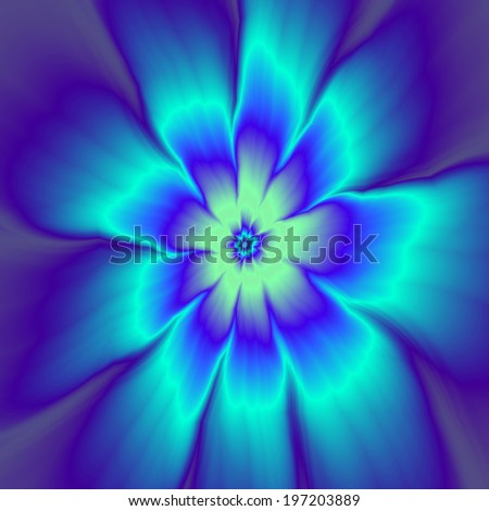Daisy Got the Blues / A digital abstract fractal design with a nine petal daisy flower design in blue tones. - stock photo