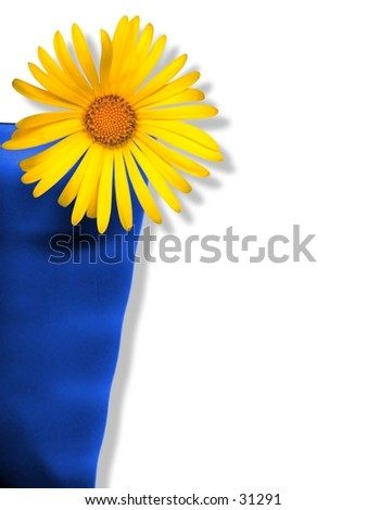 Daisy-like flower in blue cup. Lots of space for copy