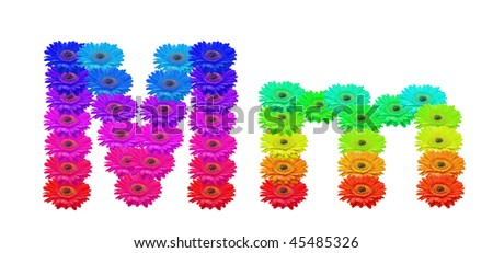 Daisy Upper and Lower Case M isolated with clipping path - stock photo