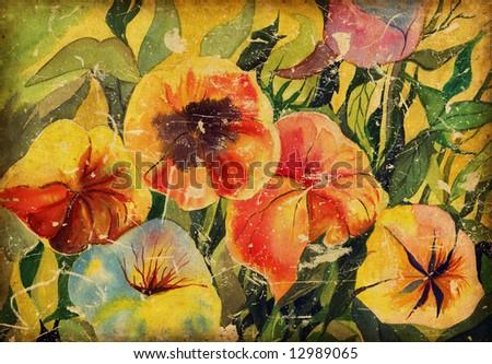 daisy watercolor flowers - stock photo