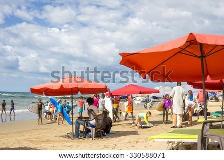 Dakar: August 21: Local residents of Dakar enjoy their  afternoon at a Beach by the Atlantic Ocean on August 2, 2015 in Dakar, Senegal. - stock photo