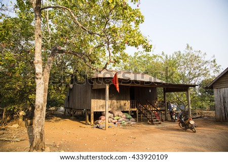 Daklak, Vietnam - Mar 29, 2016: Traditional typical Bahnar house in old minority Don village, the most frequently visited of Bahnar villages in Buon Ma Thuot, Dak Lak, Vietnam