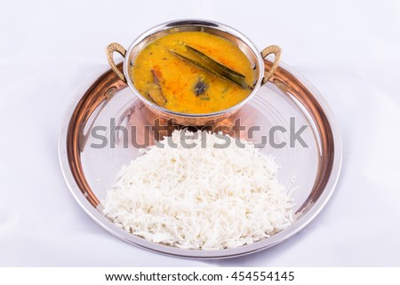 Dal fry and rice - a traditional north indian food