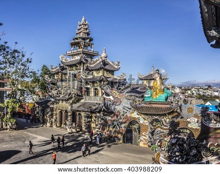 DALAT, VIETNAM - FEBRUARY 3, 2016: The amazing Linh Phuoc pagoda at Dalat, Vietnam, is a buddhist temple ercted in chinese stile.