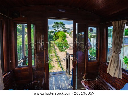 DALAT, VIETNAM - NOV 26, 2014.  Ancient station is famous place, history destination for traveler, with railway, antique train transport tourist to visit in Dalat, Vietnam - stock photo