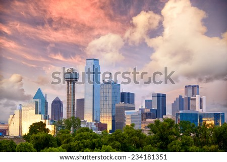 Dallas City skyline at sunset, Texas, USA - stock photo