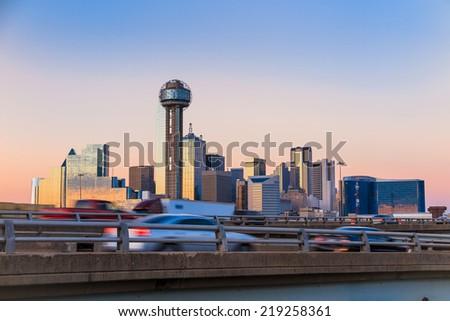 Dallas City skyline at twilight, Texas - stock photo