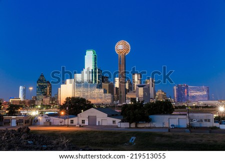 Dallas City skyline at twilight, Texas - stock photo