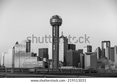 Dallas City skyline at twilight, Texas in black and white - stock photo