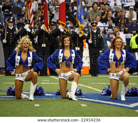 DALLAS - DEC 14: Sunday, December 14, 2008. Dallas Cowboys cheerleaders during pregame activities. Cowboys played the NY Giants. Taken in Texas Stadium. - stock photo