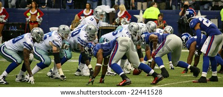 DALLAS - DEC 14: Taken in Texas Stadium on Sunday, December 14, 2008. Tony Romo and the Dallas Cowboys lineup against the NY Giants. - stock photo