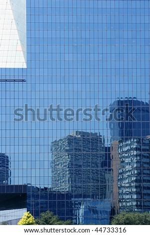 Dallas downtown city mirror skyscraper buildings urban landscape - stock photo