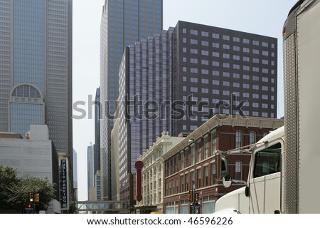 Dallas downtown city views with mixed buildings urban background - stock photo