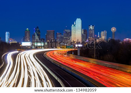 Dallas downtown skyline at night, Texas - stock photo
