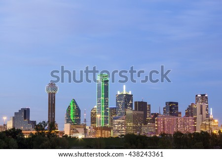 Dallas downtown skyline illuminated at night. Texas, United States